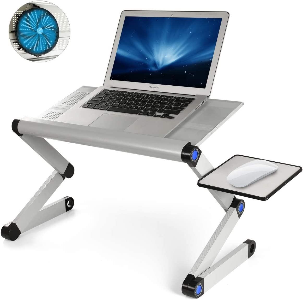 "Ultra-Large Adjustable Laptop Stand, Portable Laptop Table with Big Movable CPU Cooling Fan for 17 Inch Computer, Foldable Ergonomic Tray Holder for Bed, Sofa, Chair, Floor (Tray Size: 19"", Silver)"