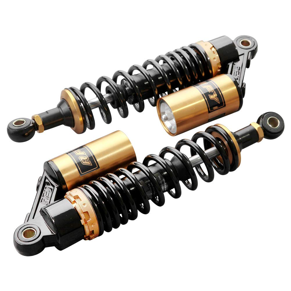 Timmart Pair 320mm Black & Gold Universal Motorcycle Air Shock Absorbers 12.5'' Adjustable