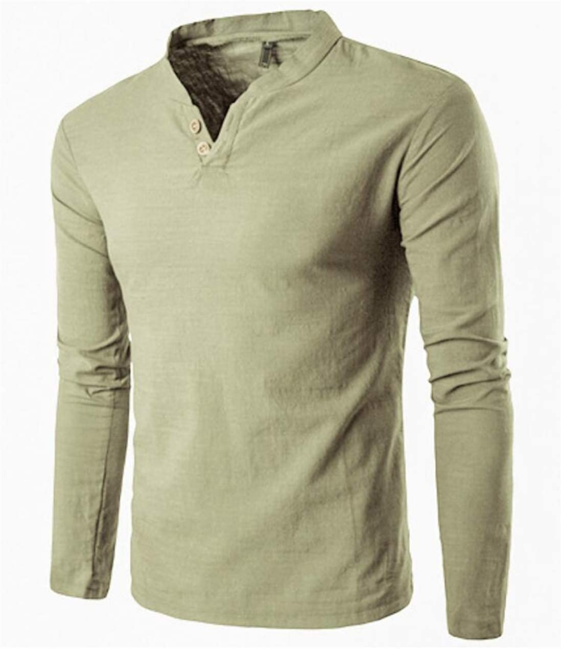 Nanquan Men Slim Fit Solid Color Long Sleeve Henley T-Shirts Crew-Neck