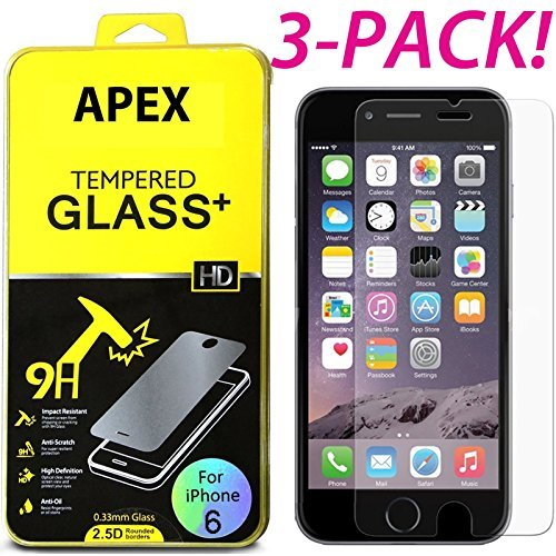 New Premium Real Tempered Glass Film Screen Protector 3 Pack for Apple iPhone 6/6S 4.7
