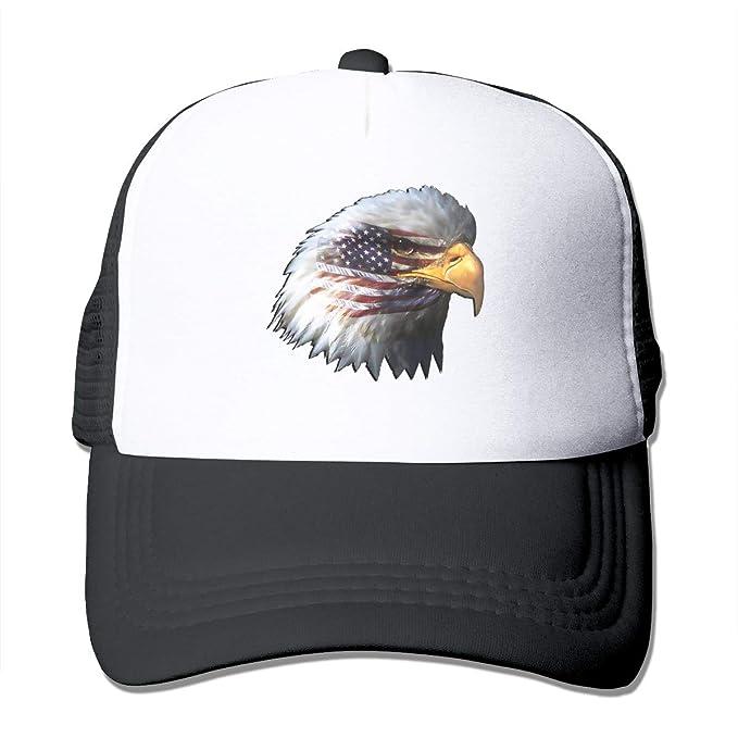 676238dbdda American-Flag-Eagle-Head Trucker Hat Snap Back Sun Mesh Baseball Cap ...