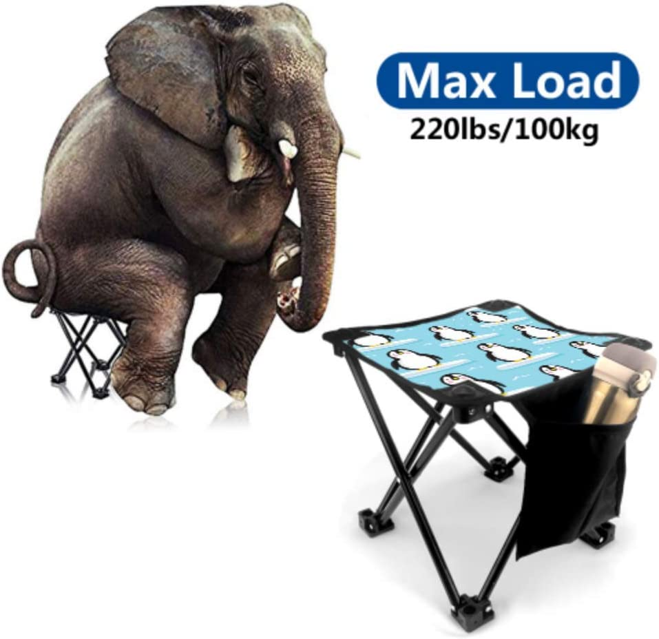 Gednix Folding Stool Folding Portable Stool Penguin White Black Handsome Animal Lightweight Foldable Portable Chair for Camping Fishing Hiking Traveling with Carry Bag
