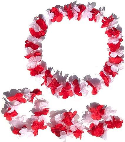 Hawaiian Flower Lei Necklace Red