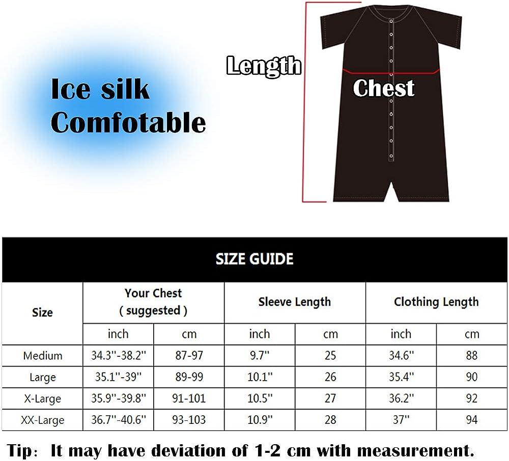 Ailsem Mens Short Sleeve Pajamas Onesie Henley Sleepwear Jumpsuit Stretchy Elastic Home Casual One Piece Garment