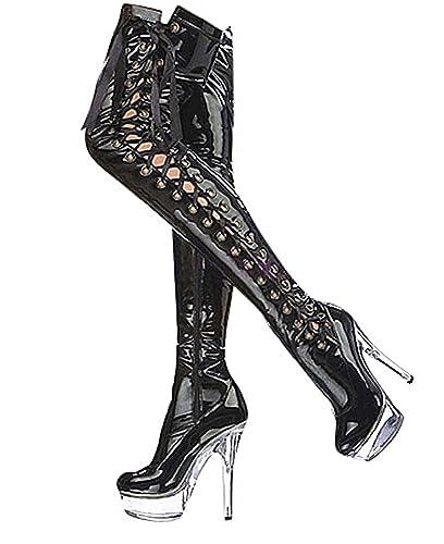 the latest 3169b b9f52 Ruby-Fashion Sexy Plateau Overknee Lack Stiefel Stiletto High Heels Boots  Luxus Damen Schuhe Langschaft Gothic Lackstiefel Schwarz