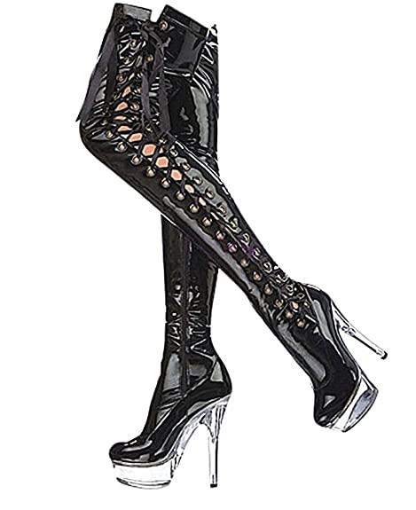 ef2c407cb91367 Ruby-Fashion Sexy Overknee Lack Stiefel Stiletto High Heels Gogo Plateau  Boots Damen Schuhe Langschaft