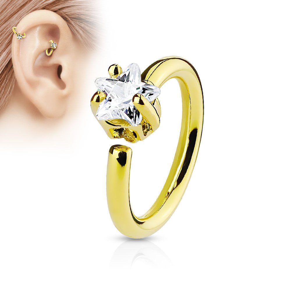 Silver Greendou Elegant Fashion Jewelry Star CZ Crystal Nose Ring Stud Hoop-Sparkly Crystal Nose Ring
