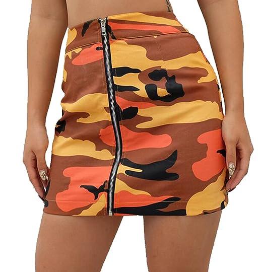 a04894b052f10 SHOWNO-Women Casual Military Camo Print Zip up Club Cargo Bodycon Mini  Skirts at Amazon Women's Clothing store: