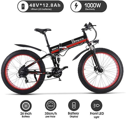 Bicicleta Eléctrica 1000W Bicicleta De Playa Eléctrica 4,0 Neumático De Grasa Bicicleta Eléctrica 48V Hombres Bicicleta De Montaña Nieve E- Bicicleta De 26 Pulg,Rojo: Amazon.es: Hogar