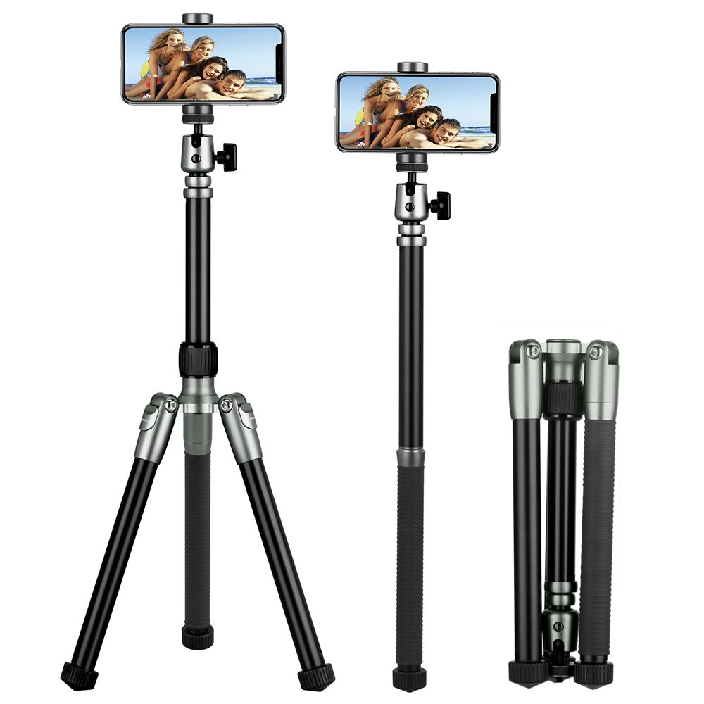 MOMAX Compact Alluminum Tripod, 56 Inch 1.87lbs Portable Lightweight Alluminum Alloy Phone and Camera Tripod Monopod Stand with Ball Head Phone Grip and Carry Bag for iPhone DV DSLR Cameras (Gray) by MOMAX