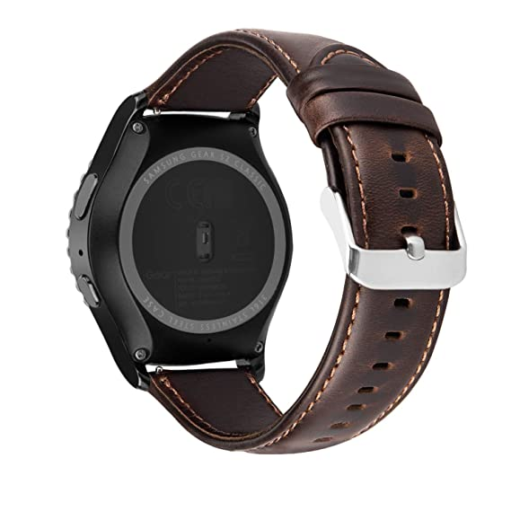 iBazal Gear S2 Classic Leather Band 42mm, Vintage Gear S2 Classic Band 20mm Genuine Leather Strap Compatible for Samsung Galaxy Watch/Gear Sport/Gear ...
