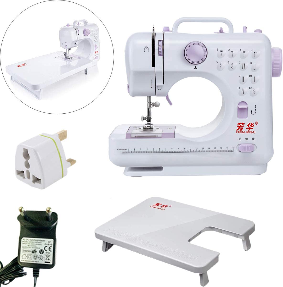 Household Sewing Machine Portable and Multifunctional Electric Overlock Sewing Tool with Extention Table for Beginner Home Sewing Crafting DIY Sewing
