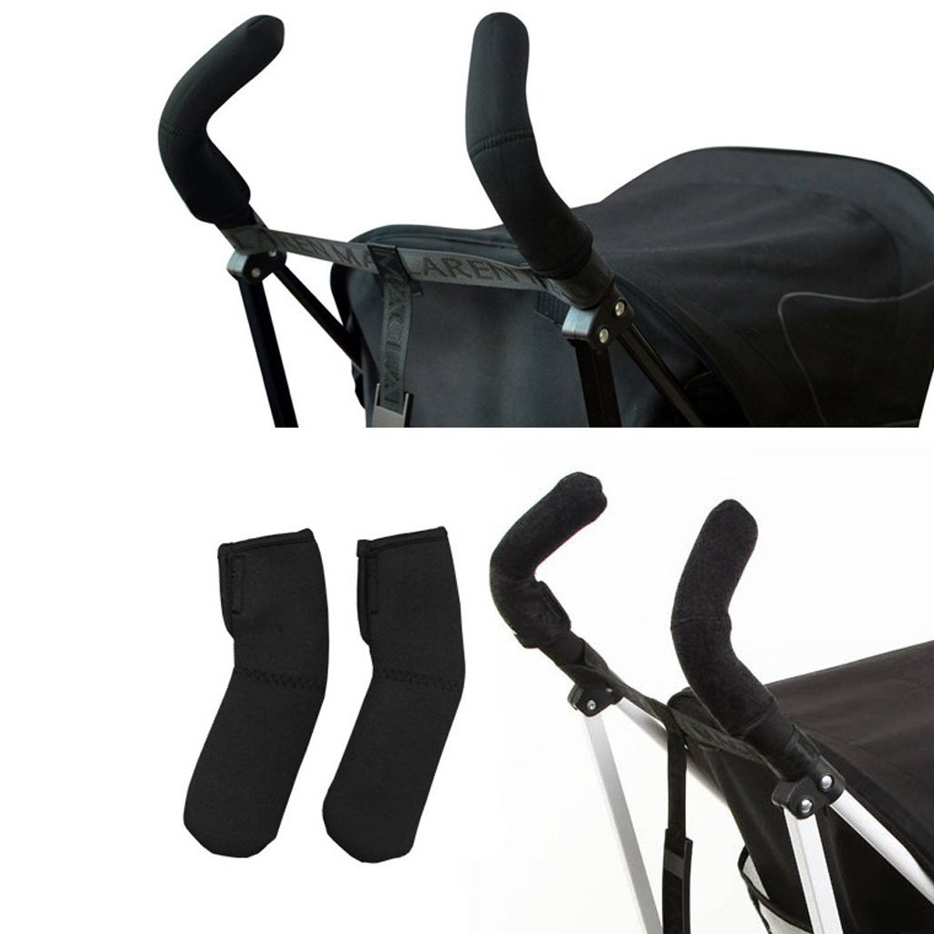 Fostly Baby Stroller Grip Cover Pram Grip Cover Handle Sleeve Cover Handle Protector for Umbrella Pushchair 2 PCS black