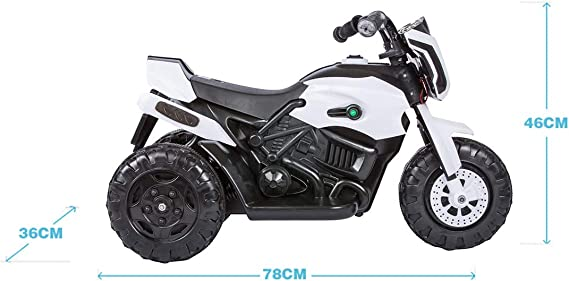 Baybee Damned GS-800 Battery Operated Sports Bike | Single Motor Ride On Bike with 20 Kg Weight Capacity -- White