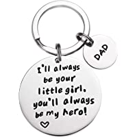LParkin Boys' I'Ll Always Be Your Little Girl.You Will Always Be My Hero Keychain, Stainless Steel