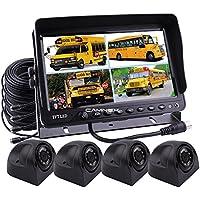 Camnex Car Backup Camera System 9 TFT LCD Monitor With Quad Split Screen Rear View Camera Monitor Kit 4 x Side View Camera