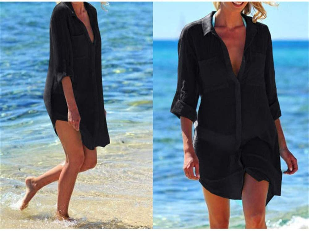 Gububi Bikini Cover Up Womens Summer Swimsuit Bikini Swimwear Cover Up Pool Swim Sun Protettivo Beach Dress Costume da Bagno Manica Lunga Button Up Plus Camicetta Camicetta Dress Costumi da Bagno