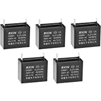 uxcell CBB61 Run Capacitor 450V AC 3uF 2-pin Metallized Polypropylene Film Capacitors Black for Ceiling Fan 5Pcs
