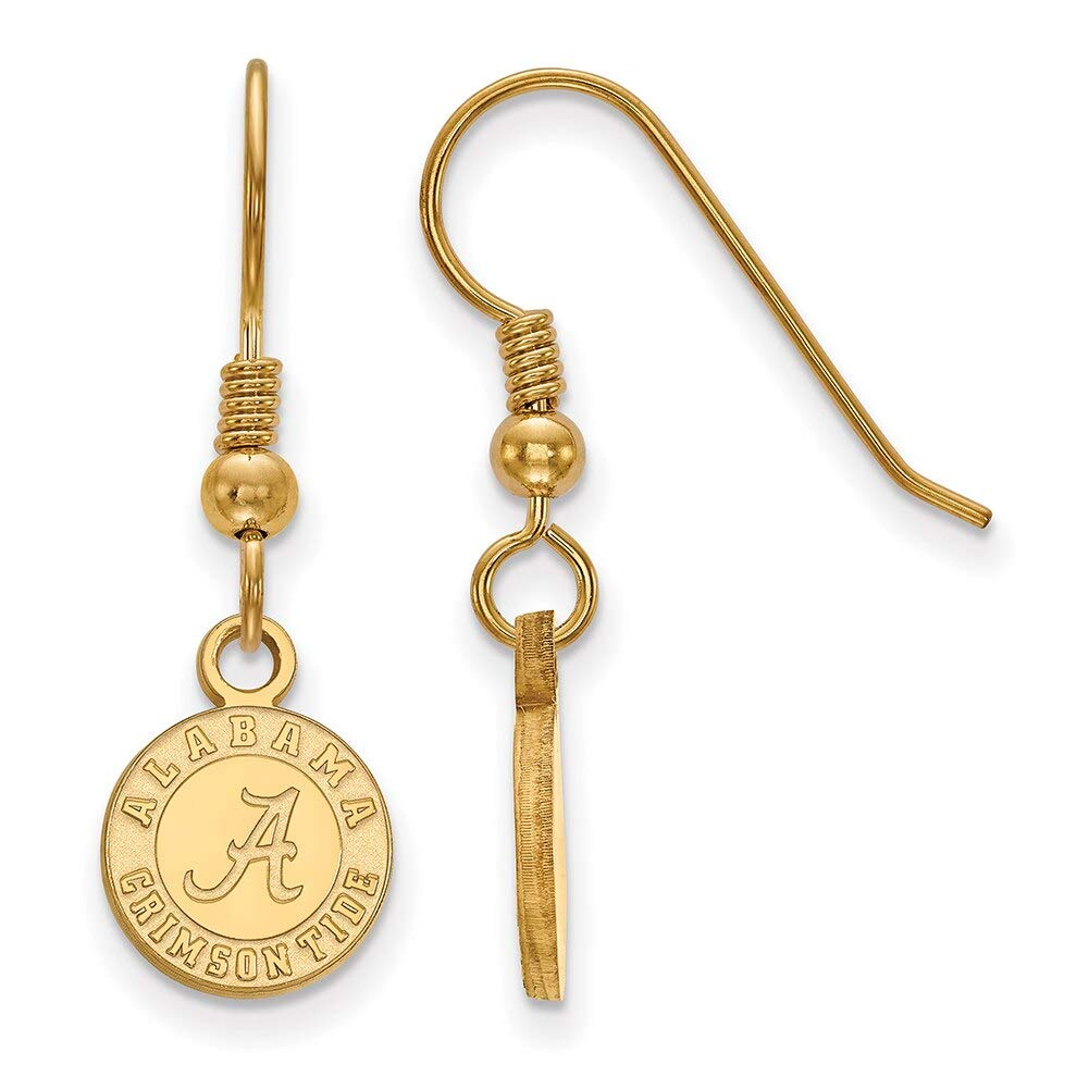 Lex /& Lu LogoArt Sterling Silver w//GP University of Alabama XS Dangle Earrings LAL141724