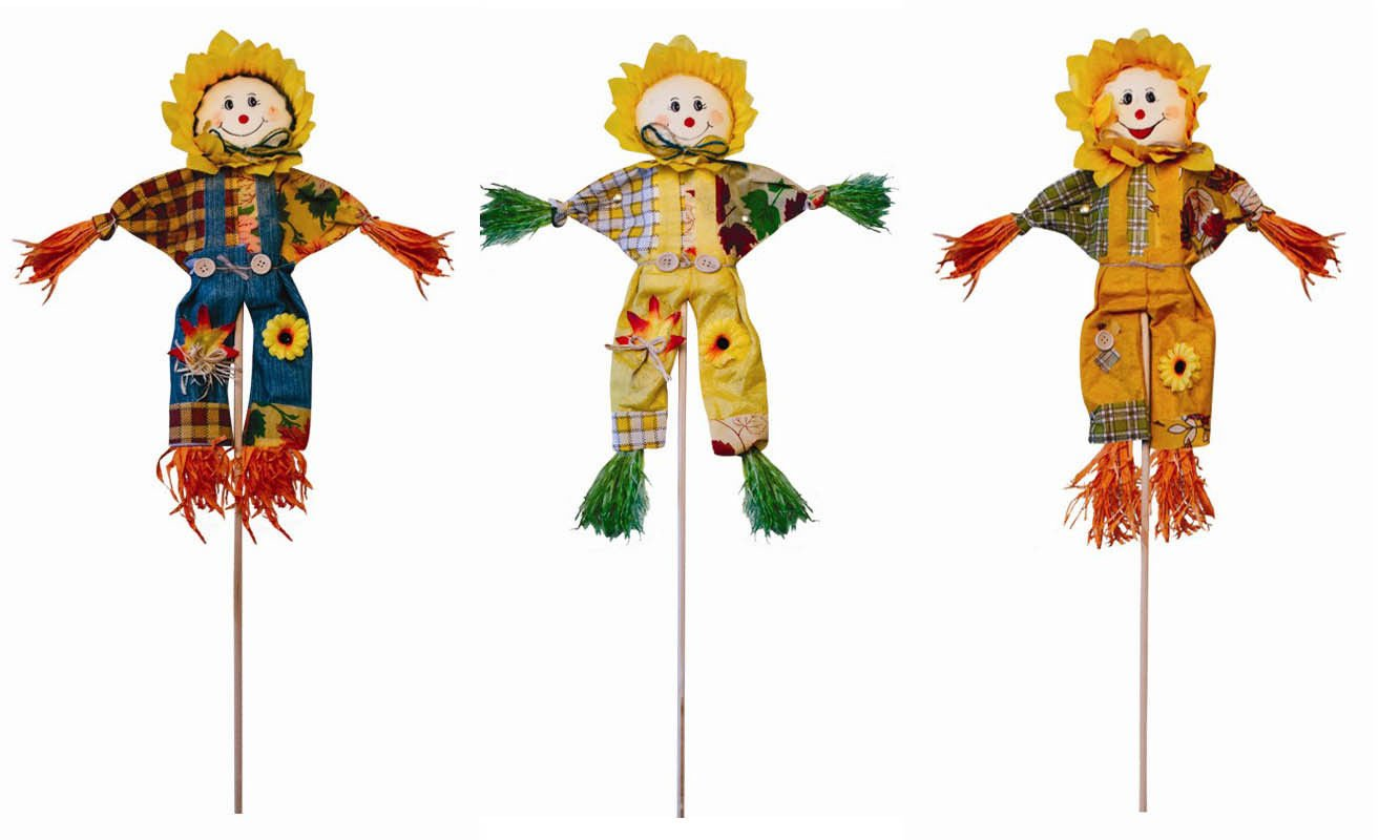 75cm Decorative Scarecrow On Stick Deter Birds and Pests From Your Garden and Lawn