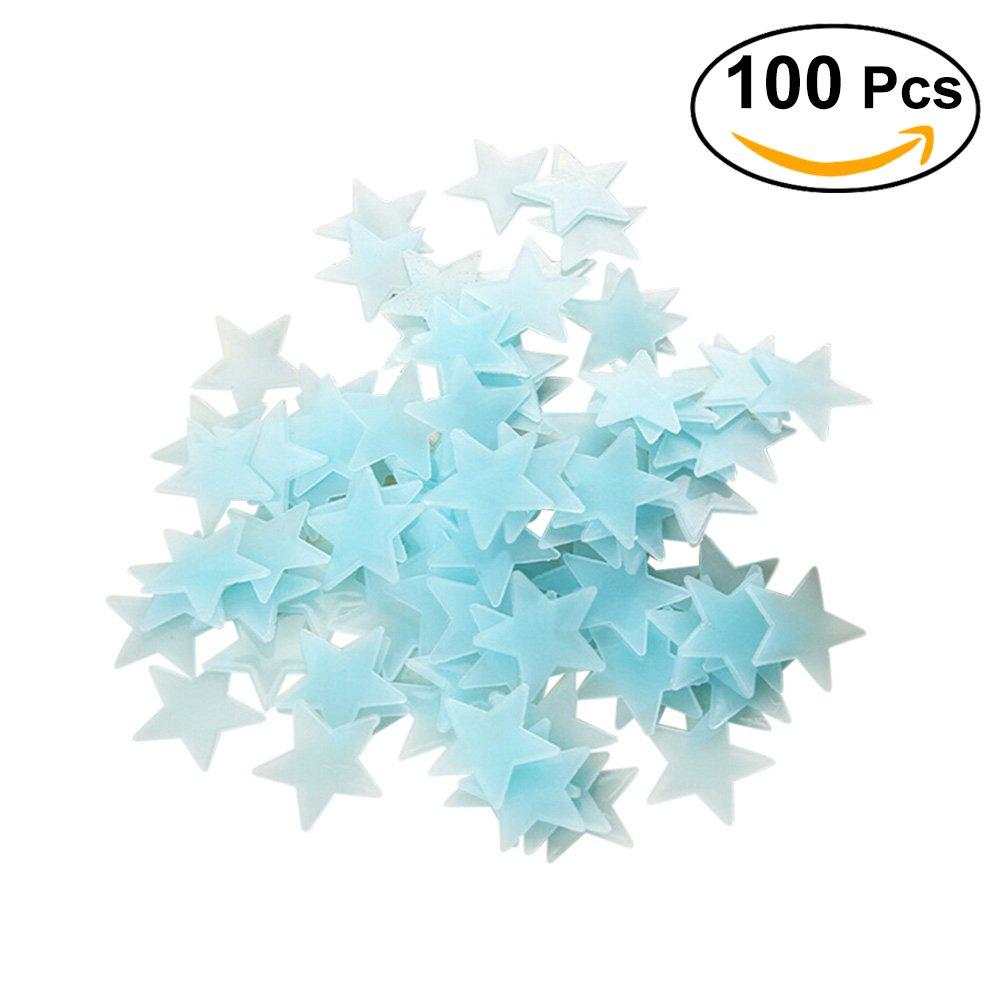 YeahiBaby Estrellas Luminosas Pegatina Pared fluorescentes brillantes en la oscuridad 100 piezas Azul