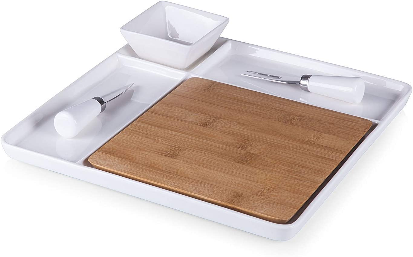 Picnic Time Peninsula Cutting Board Serving Tray with Cheese Tools [並行輸入品]
