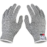 Iusun Cut Resistant Gloves Food Grade Level 5 Protection Working Cutting (White, XS)