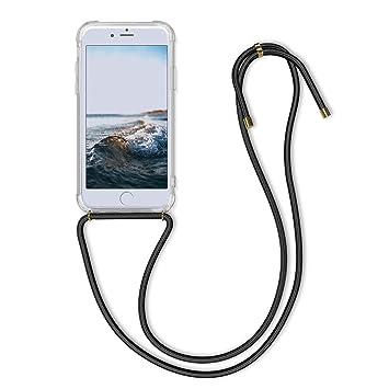 kwmobile Funda con Cuerda para Apple iPhone 6 / 6S - Carcasa Transparente de TPU con [Colgante] en [Transparente/Negro]