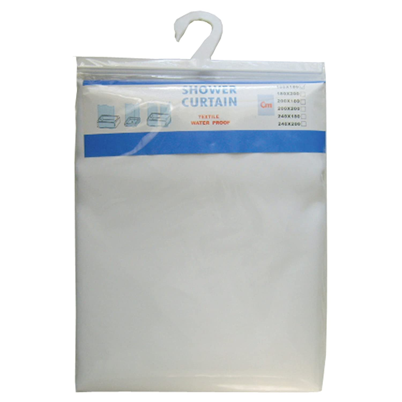2.4 METRE LONG X 2 METRE (240CM LONG X 200CM) WHITE SHOWER CURTAIN MCA20B