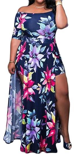 Etecredpow Womens Floral Print Slit Off Shoulder Summer Plus Size ...