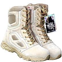 BE DREAMER Mens Lightweight Tactical Side-Zipe Boots