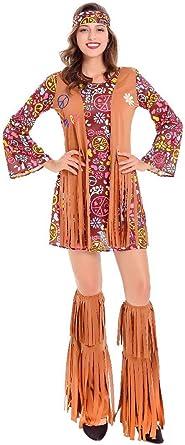 COSKING Disfraz de Hippie Retro de los años 70 para Mujer - Multi ...
