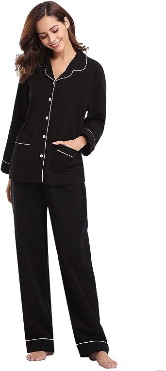 Aibrou Pigiama Lungo Invernale in Cotone 100/% Set Pigiama da Donna Maniche Lunghe Camicia da Notte Pigiama Donna per Tutte Le Stagioni