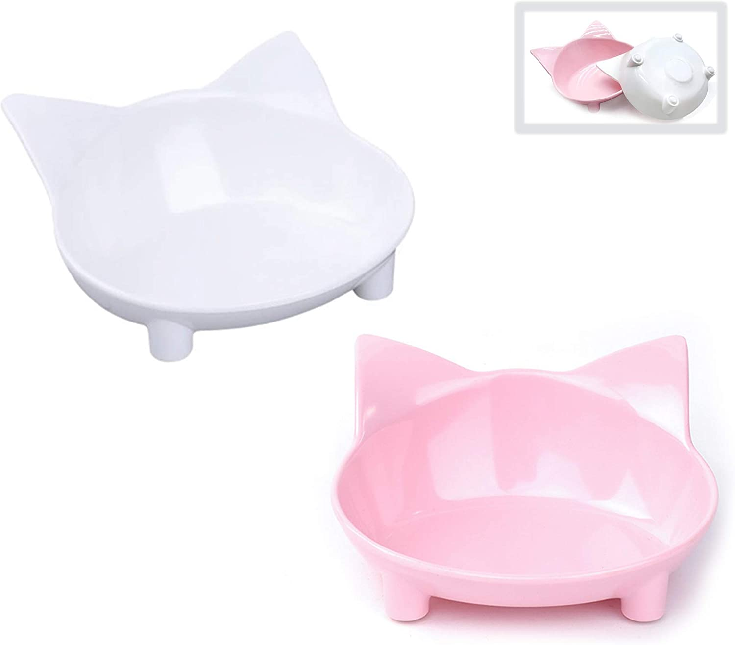 choemore Cat Bowl Cat Food Bowls Non Slip Wide Shallow Cat Dish for Relief of Whisker Fatigue(Safe Food-Grade Material)