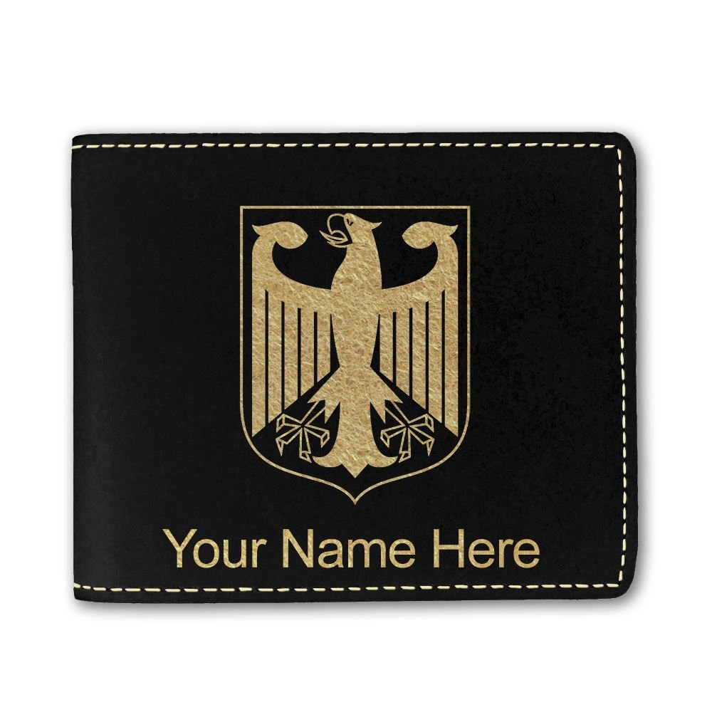 Faux Leather Wallet, Coat of Arms Germany, Personalized Engraving Included (Black)