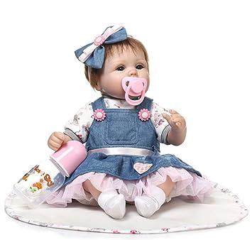 ZIYIUI Reborn muñecas Baby Reborn munecas niños Bebe 18 Pulgadas 45 cm Bebes para niñas niña muñeca muñecos realistas Recien Nacidos Ojos ...