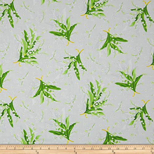 Maywood Studio Greenery Tossed Lily Grey Fabric by The Yard