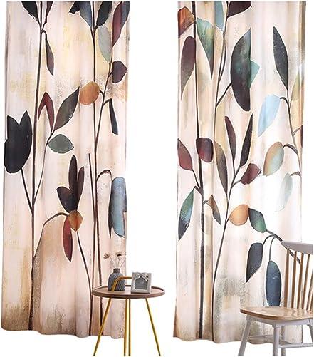 BW0057 Modren Simple Style Fresh Plant Printed Rod Pocket Window Curtain Windiw Treatment Drape