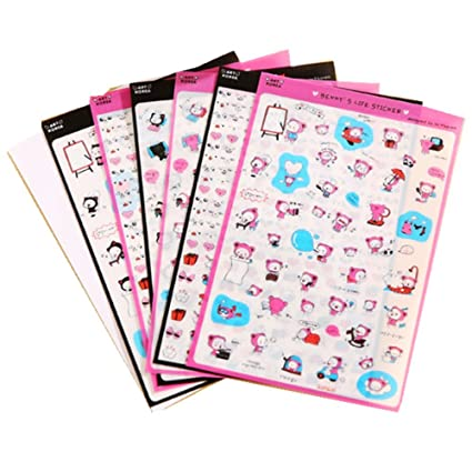Freessom 12 Fiches Autocollant Stickers Adhésif Transparent