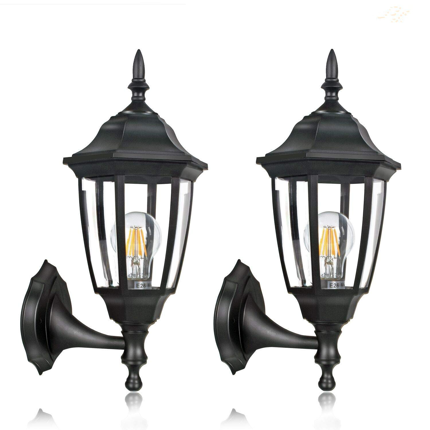 FUDESY 2-Pack Outdoor Wall Lanterns,Corded-Electric 12W Plastic LED Exterior Wall Lights,Waterproof Retro Black Porch Light Fixture Wall Mount for Garage,Yard,Front Door,Deck,FDS341B2