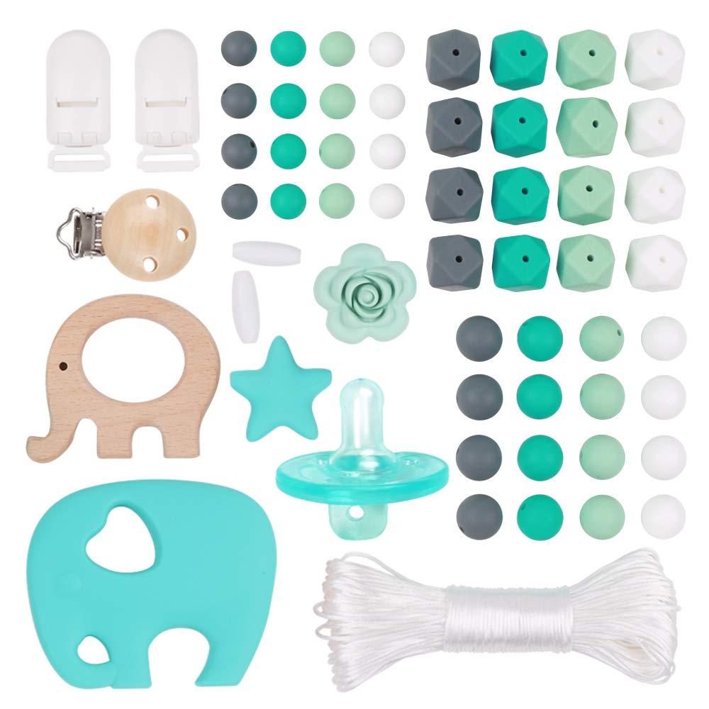 Kit Perline in Silicone Accessori per la masticazione sensoriale Bracciale per bebè neonati Anello mese per giocattoli finte Clip per ciuccio in legno Clip per bebè BPA Free Shower per ragazzi