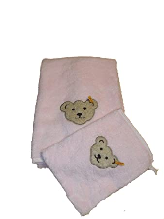 wei/ß STEIFF Set mit Handtuch und Waschlappen