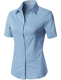 e524c618bf49 CLOVERY Women's Basic Simple Short Sleeve Trendy Slim Fit Button Down Shirt