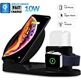 SYSTENE Wireless Charger Stand for iPhone AirPods Apple Watch, Charge Dock Station Charger for Apple Watch Series 4/3/2/1 iPhone X 8 XS