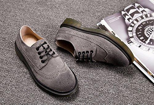 Flats Microsuede Loafer Shoes Honeystore Brogue Grey Retro Unisex shoelace British f0fY8Fq
