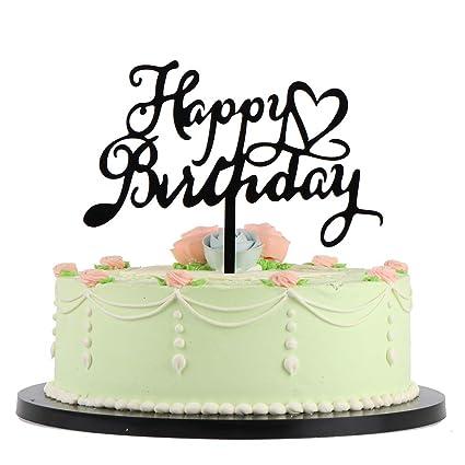Amazon Com Lveud Black Love Star Acrylic Happy Birthday Cake Topper