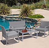 Cheap Patio Furniture-Patio Furniture Sets- 4 Piece Rattan Cushioned Patio Set-Color GREY-1x Double Sofa 2 X Single Sofas 1x Table With Tempered Glass -Patio Furniture Cushions For Each Seat-Offers Comfortable And Exceptionally Stunning Outdoor Lounging-100% Thrilled Customer Guarentee!