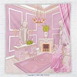 59 x 59 Inches Teen Girls Decor Fleece Throw Blanket Princess Dressing Room in Palace Luxurious Design with Chandelier Fireplace Blanket Pink