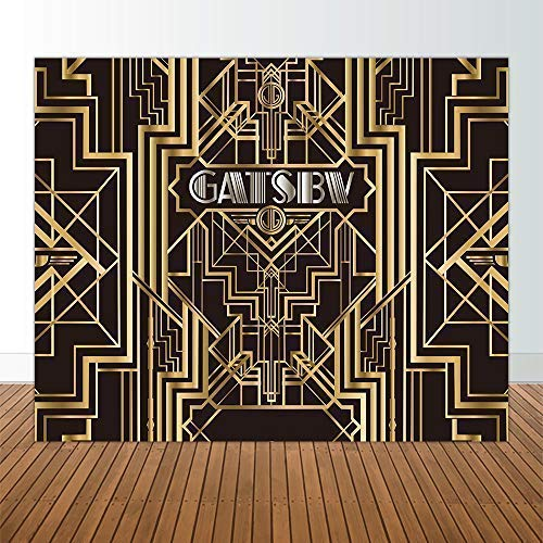 Allenjoy 10x8ft Great Gatsby Backdrops for Photography Birthday Children Adults Roaring 20s Graduation Theme Party Black and Gold Golden Banner Photo Studio Booth Background Photocall New Year NYE]()