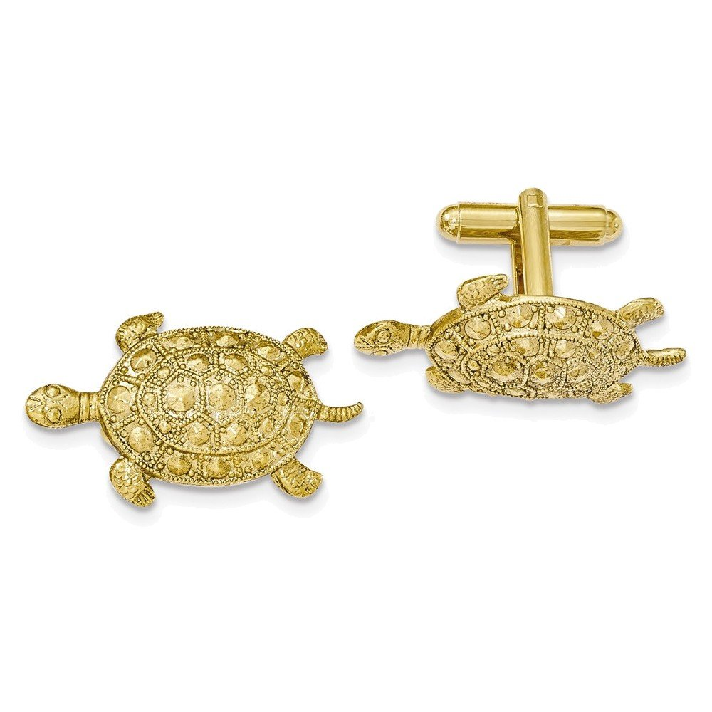 Gold-tone Textured Turtle Cuff Links
